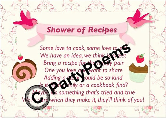 Recipe Shower Invitation Wording Lovely Recipe & Pantry themed Bridal Shower Poem Inserts Used