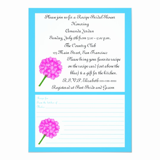 Recipe Shower Invitation Wording New Recipe Bridal Shower Invitation Blue Recipe Card