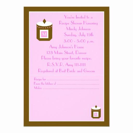 Recipe Shower Invitation Wording New Recipe Bridal Shower Invitation Pink