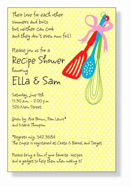 Recipe Shower Invitation Wording Unique Kitchen Corner