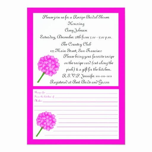 Recipe Shower Invitation Wording Unique Recipe Bridal Shower Invitation Pink Recipe Card