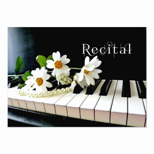 Recital Invitation Template Free Awesome Piano Recital Invitation Pearls and Flowers