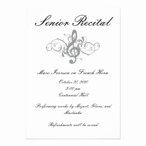 Recital Invitation Template Free Awesome Senior Music Recital Invitation