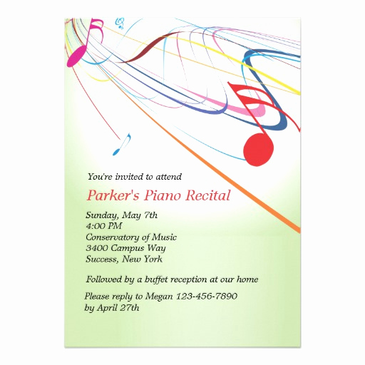 "Recital Invitation Template Free Beautiful Listen to the Music Recital Invitation 5"" X 7"" Invitation"