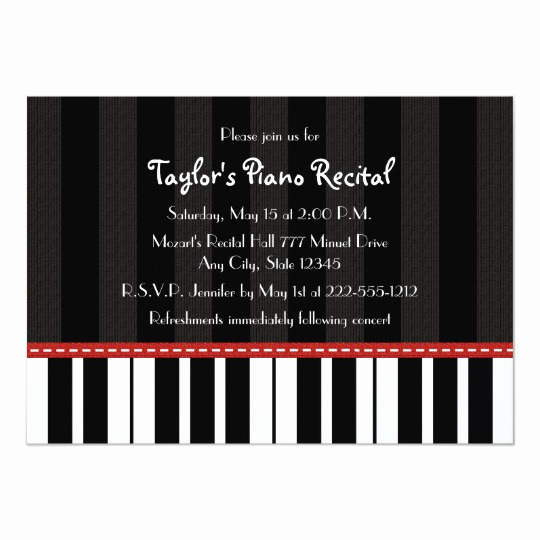 Recital Invitation Template Free Beautiful Piano Recital Invitations Invites