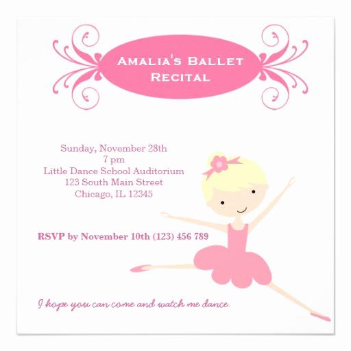 Recital Invitation Template Free Best Of Ballet Recital Custom Invitations