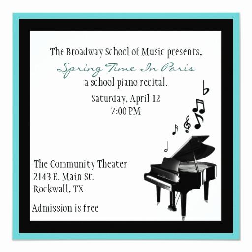 Recital Invitation Template Free Best Of Elegant Custom Piano Recital Invitation