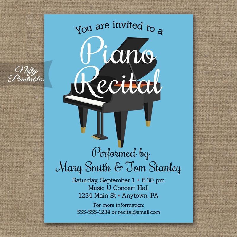 Recital Invitation Template Free Fresh Piano Recital Invitation Nifty Printables