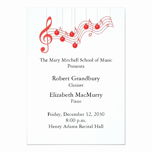 Recital Invitation Template Free Luxury Holiday Musical Recital Program 5x7 Paper Invitation Card
