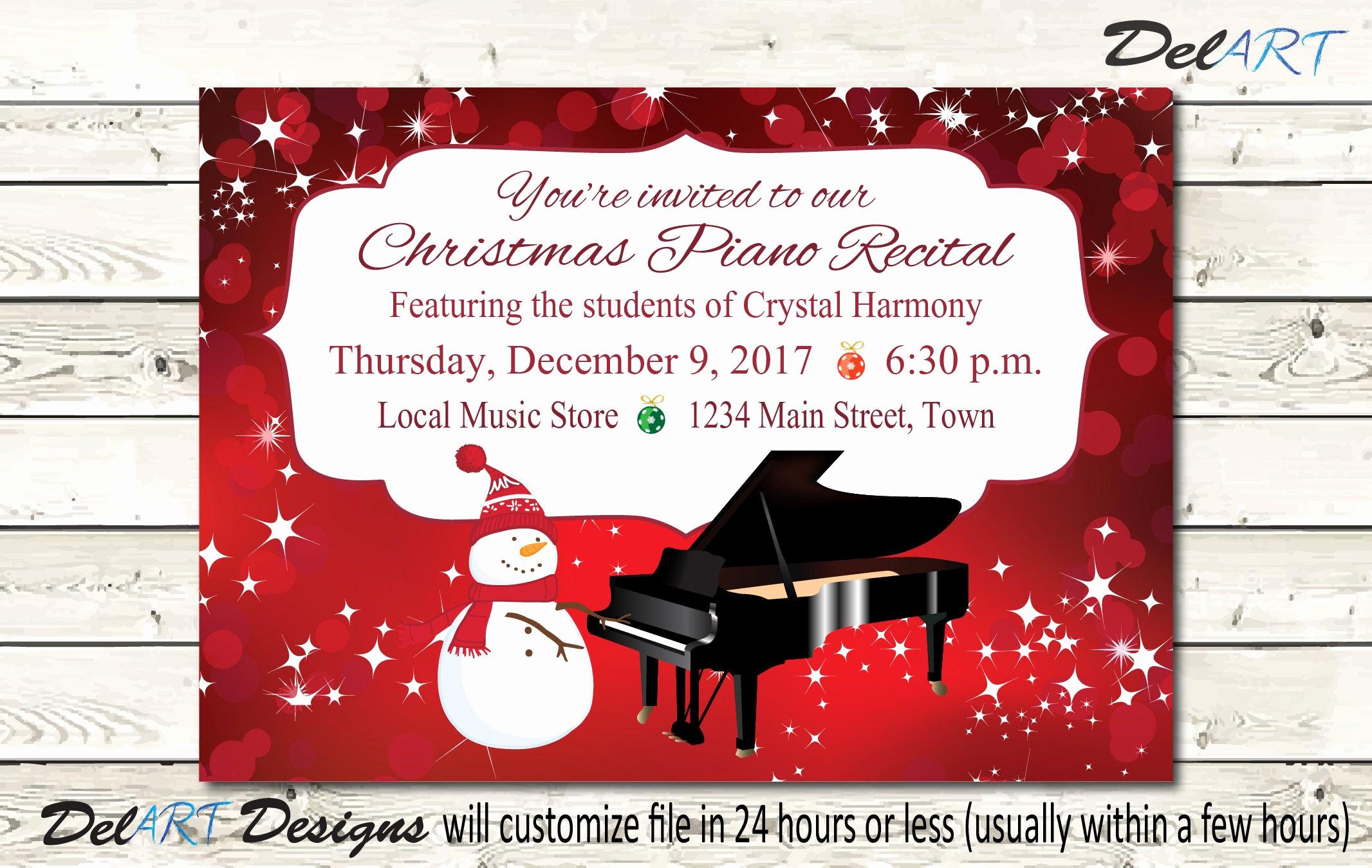 Recital Invitation Template Free Luxury Piano Recital Invitation orchestra Concert Invite Christmas