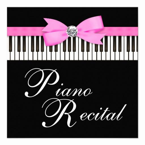 "Recital Invitation Template Free Luxury Pink and Black Piano Keys Recital Invitation 5 25"" Square"