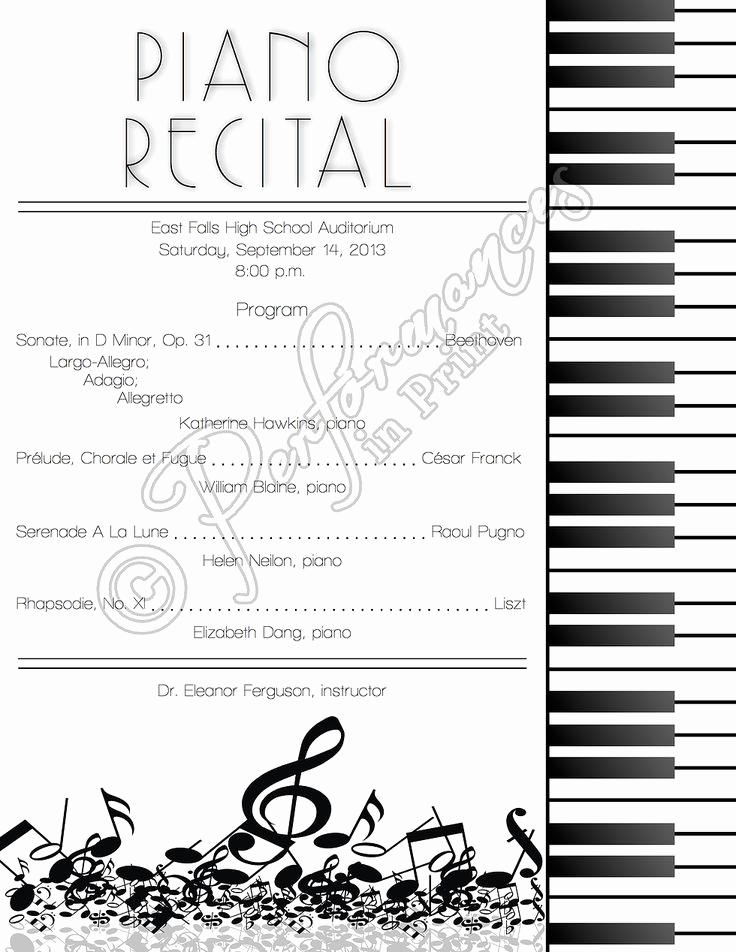 Recital Invitation Template Free Luxury top 25 Ideas About Piano Recital On Pinterest