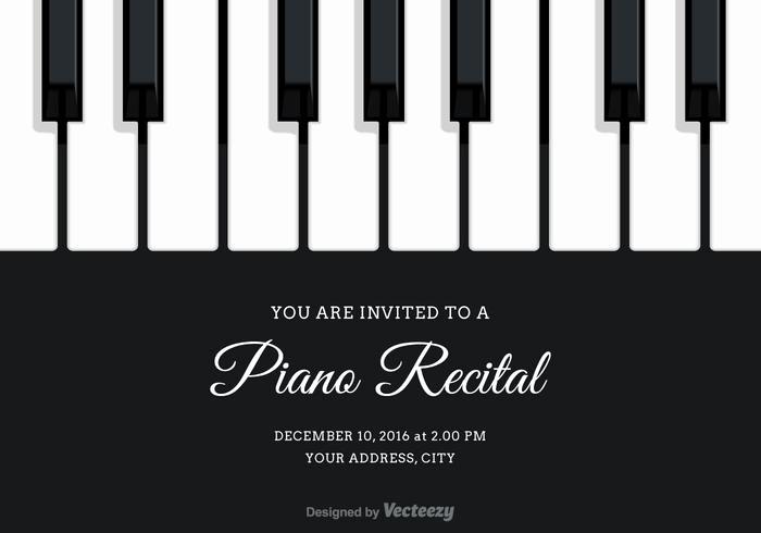 Recital Invitation Template Free New Vector Piano Recital Invitation Download Free Vector Art