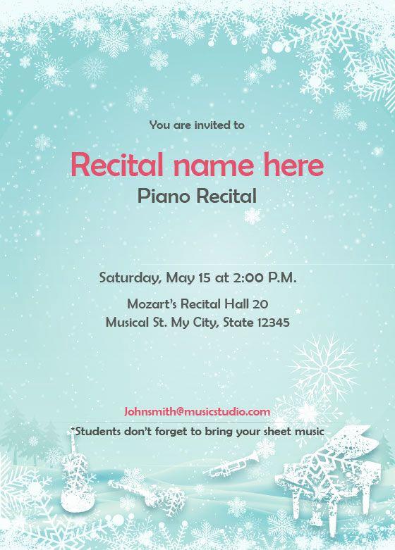 Recital Invitation Template Free Unique Winter theme Recital Invitation