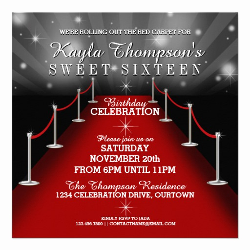 Red Carpet Invitation Template Best Of Sweet 16 Glamorous Red Carpet Party Invitations