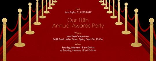Red Carpet Invitation Template Elegant Free theme Party Line Invitations