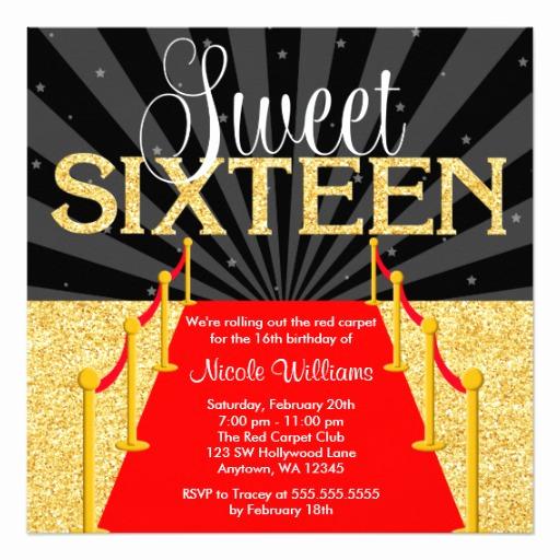 Red Carpet Invitation Template Elegant Red Carpet Gold Glam Hollywood Sweet 16 Birthday Square