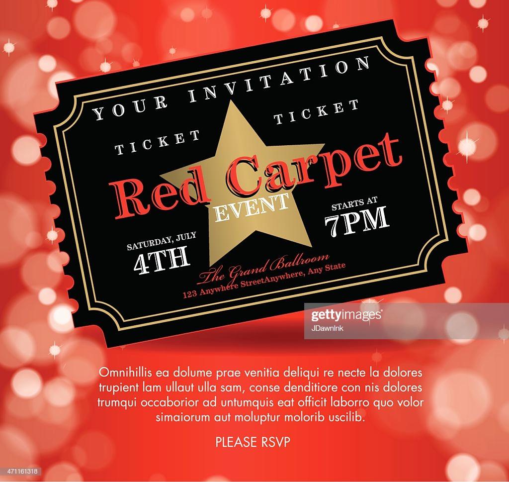 Red Carpet Invitation Template Elegant Vintage Style Black Red Carpet event Ticket Invitation