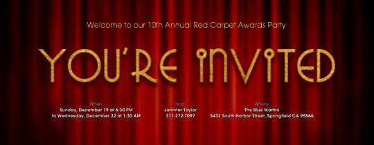 Red Carpet Invitation Template Free Fresh Viewing Party Free Line Invitations