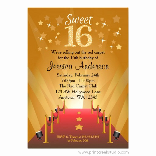 Red Carpet Invitation Template Free Inspirational Red Carpet Hollywood Star Sweet 16 Invitations