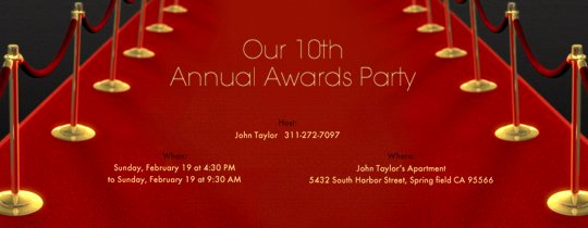 Red Carpet Invitation Template Free Lovely Awards Show Viewing Party Evite