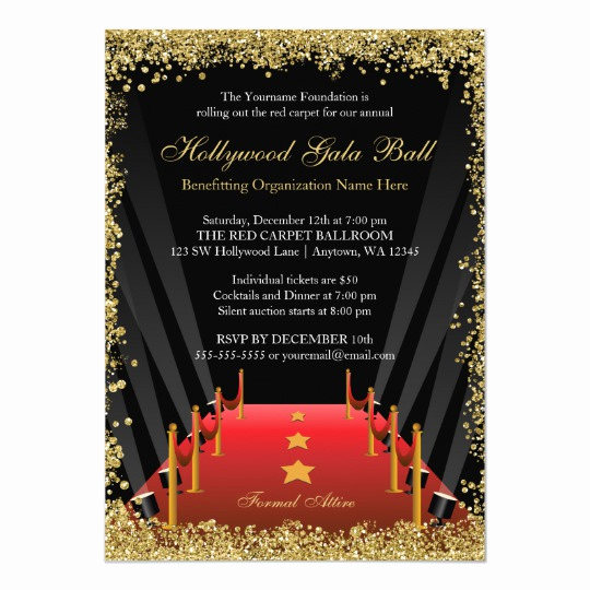 Red Carpet Invitation Template Free Lovely Hollywood Gala Ball Red Carpet Glitter Card