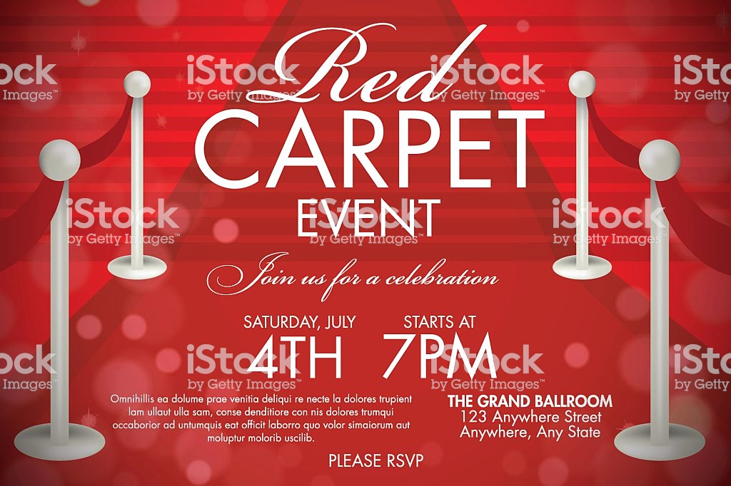Red Carpet Invitation Template Free Lovely Vintage Style Red Carpet event Invitation Template Red