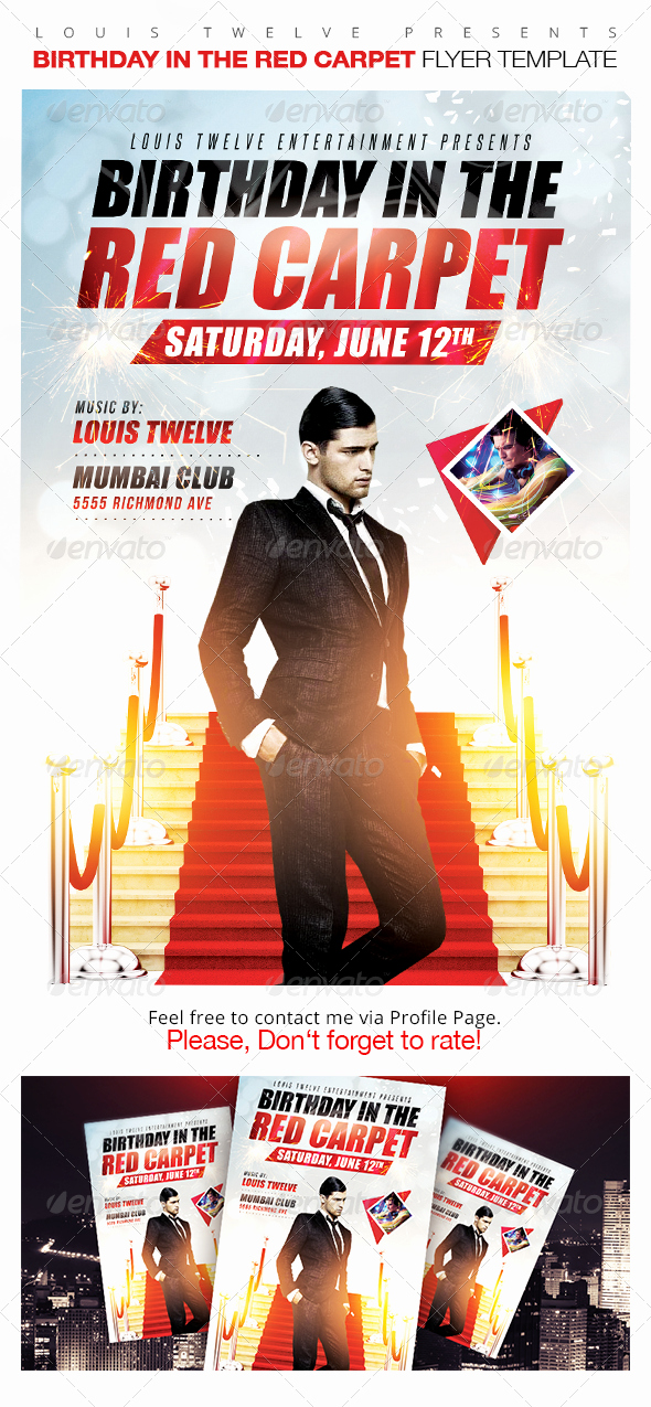 Red Carpet Invitation Template Free Luxury Birthday In the Red Carpet Flyer Template by Louistwelve