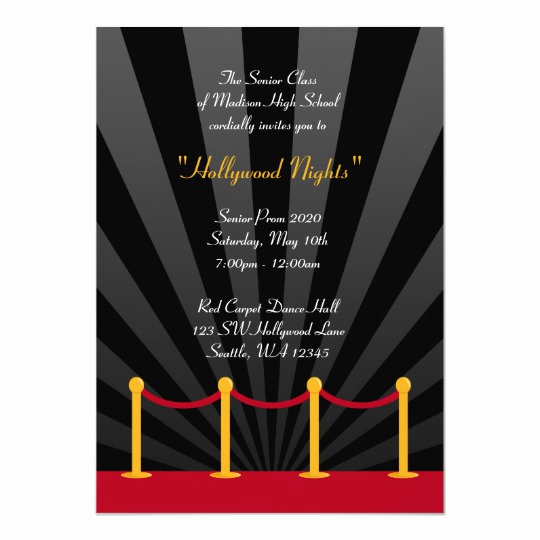 Red Carpet Invitation Template Free New Hollywood Red Carpet Prom formal Invitations