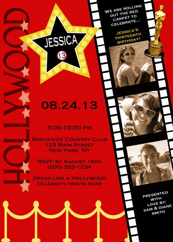 Red Carpet Invitation Template Luxury Customized Hollywood Red Carpet Invitations