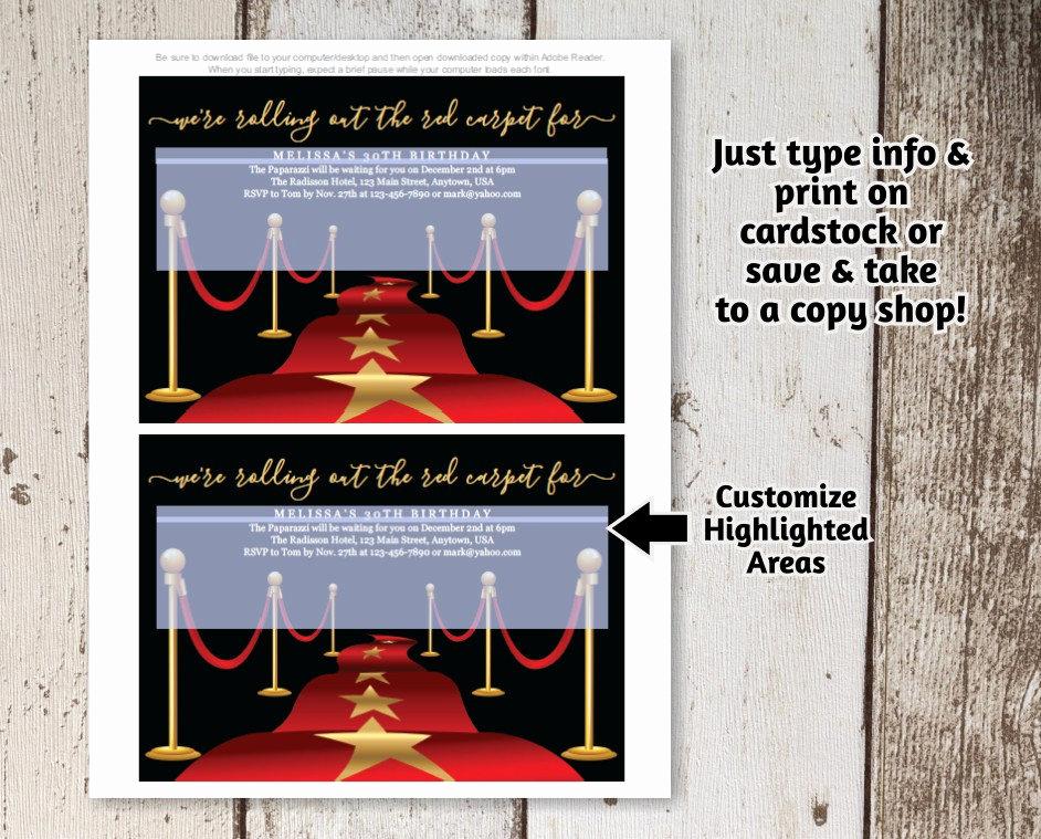 Red Carpet Invitation Template Luxury Printable Red Carpet Invitation Template Hollywood theme