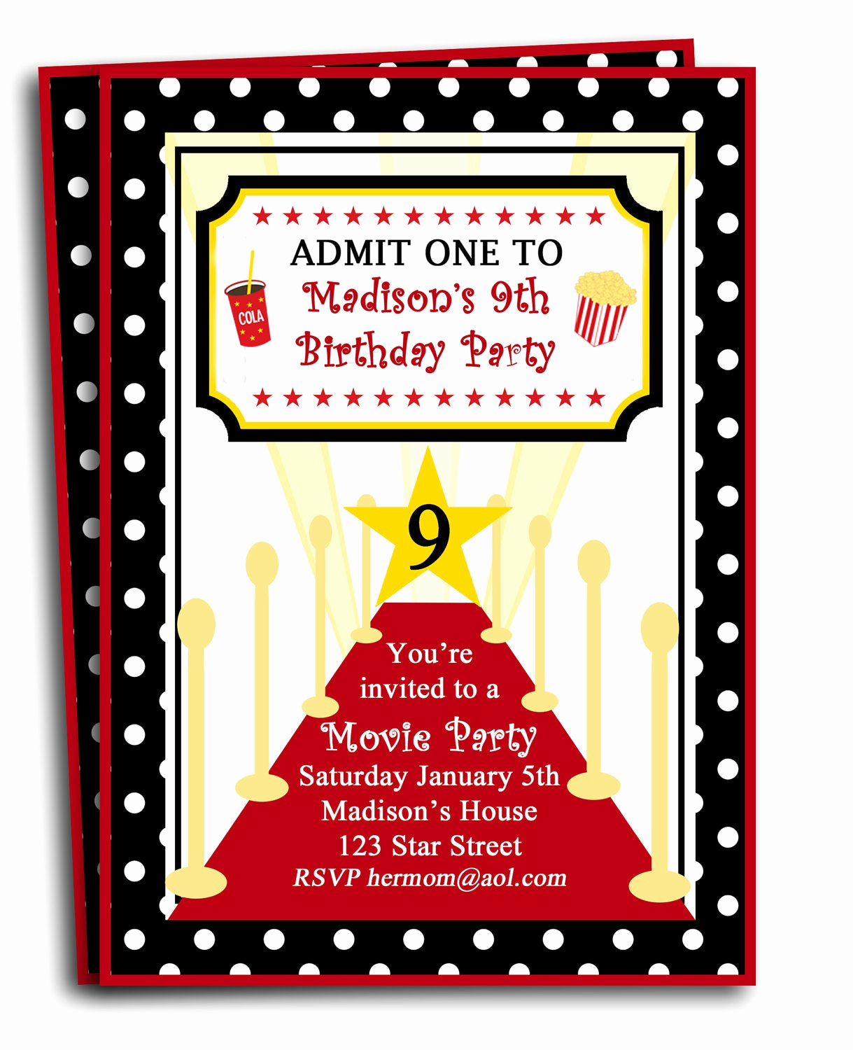 Red Carpet Invitation Template Luxury Red Carpet Party Invitation Printable or Printed with Free