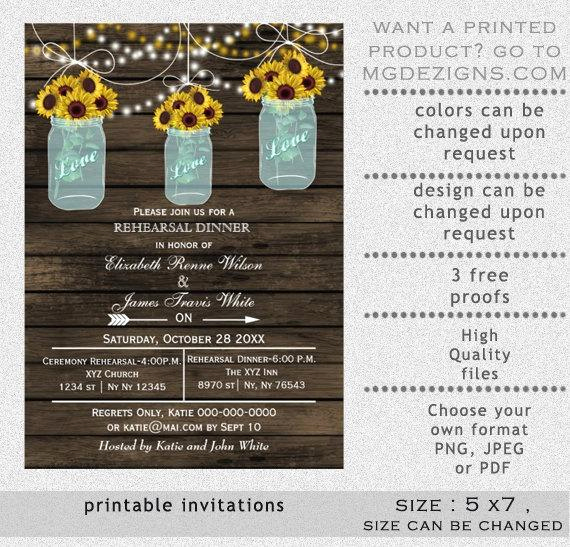 Rehearsal Dinner Invitation Template Awesome Printable Rehearsal Dinner Invitation Template Mason Jars