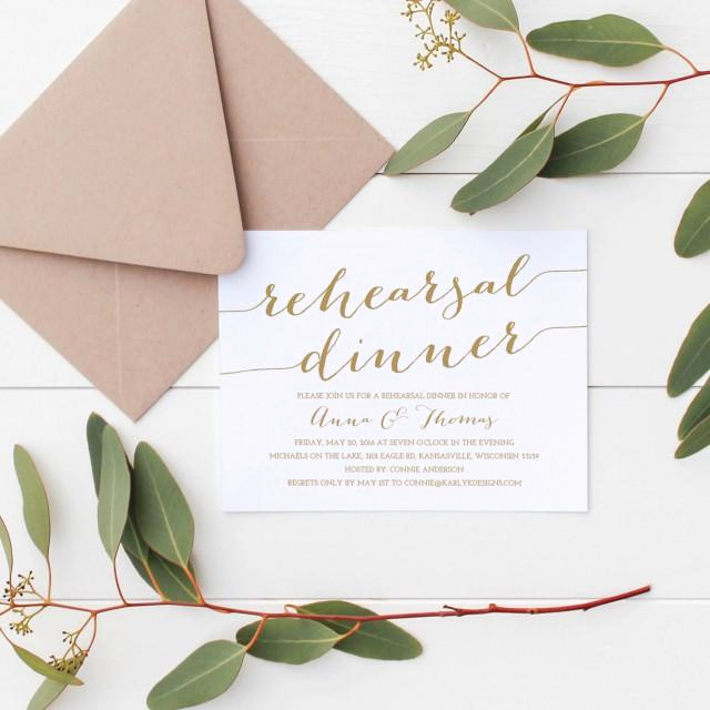 Rehearsal Dinner Invitation Template Beautiful Gold Rehearsal Dinner Invitation Template Rehearsal