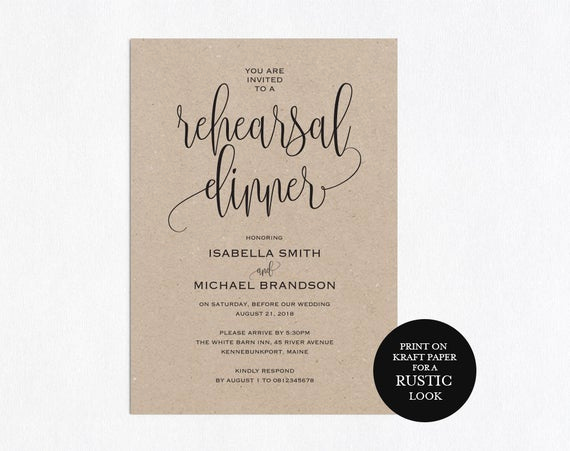 Rehearsal Dinner Invitation Template Inspirational Rehearsal Dinner Invitation Template Rehearsal Printable