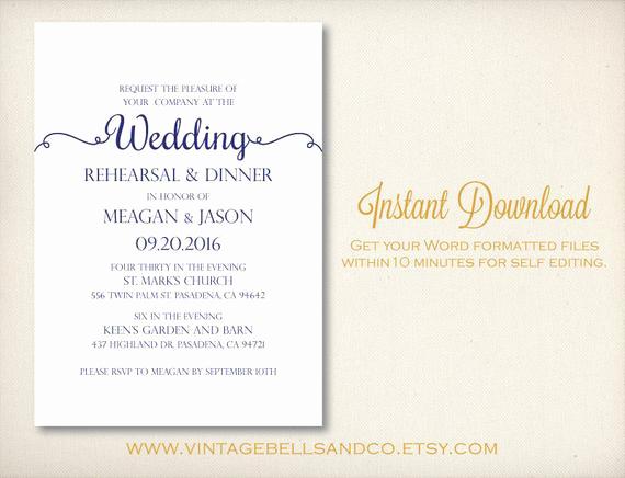 Rehearsal Dinner Invitation Template Word Luxury Diy Printable Wedding Rehearsal Dinner by Vintagebellsandco