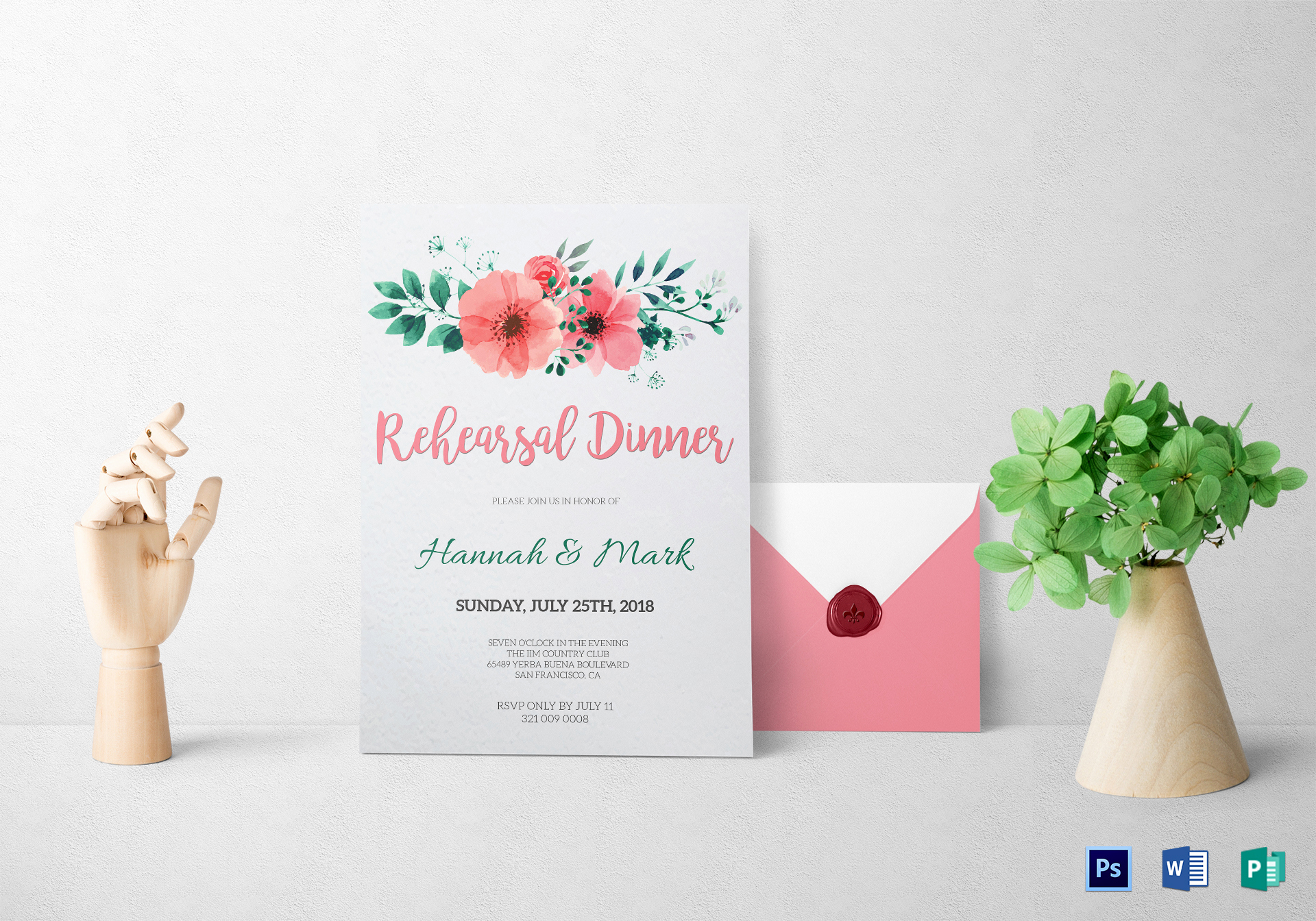 Rehearsal Dinner Invitation Template Word Unique Floral Rehearsal Dinner Invitation Design Template In Word