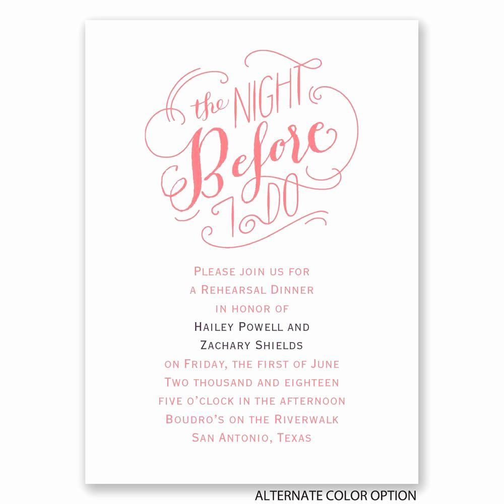 Rehearsal Dinner Invitation Wording Best Of the Night before Mini Rehearsal Dinner Invitation