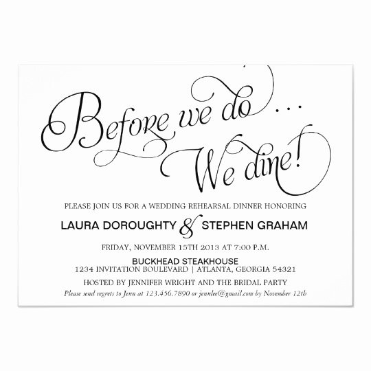 Rehearsal Dinner Invitation Wording Fresh Elegant Script Rehearsal Dinner Invitation White