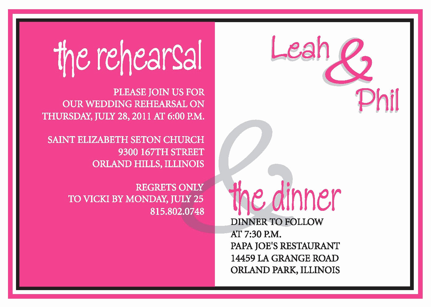 Rehearsal Dinner Invitation Wording Fresh Rehearsal Dinner Invite Custom Colors