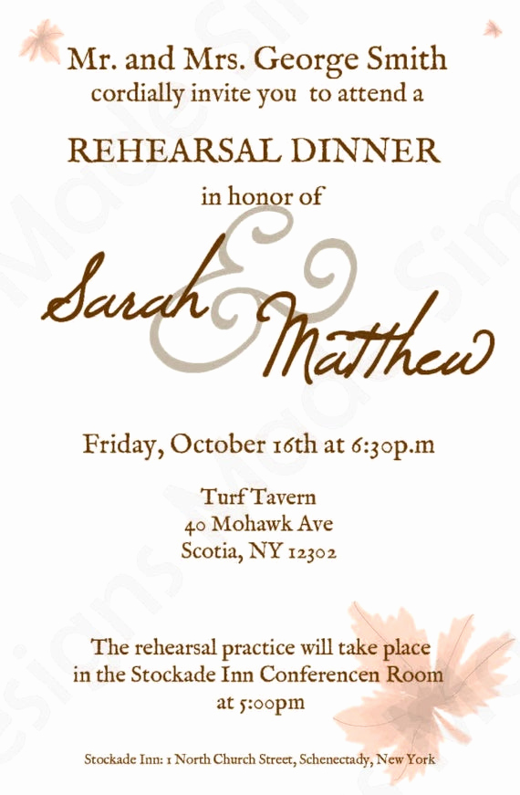 Rehearsal Dinner Invitation Wording Lovely Fall Rehearsal Dinner Invitation Printable