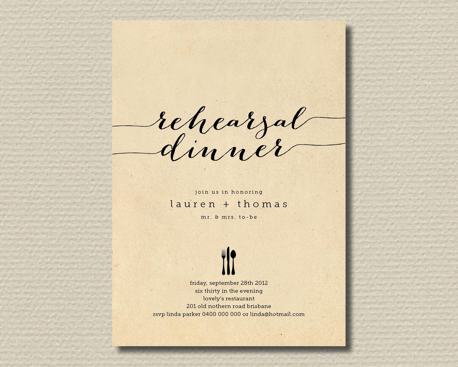 Rehearsal Dinner Invitation Wording New Printable Wedding Rehearsal Dinner Invitation by