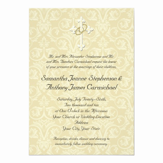Religious Wedding Invitation Wording Beautiful Golden Rings Cross Christian Wedding Invitations