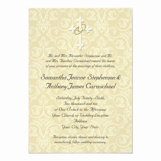 Religious Wedding Invitation Wording Beautiful Golden Rings Cross Christian Wedding Invitations