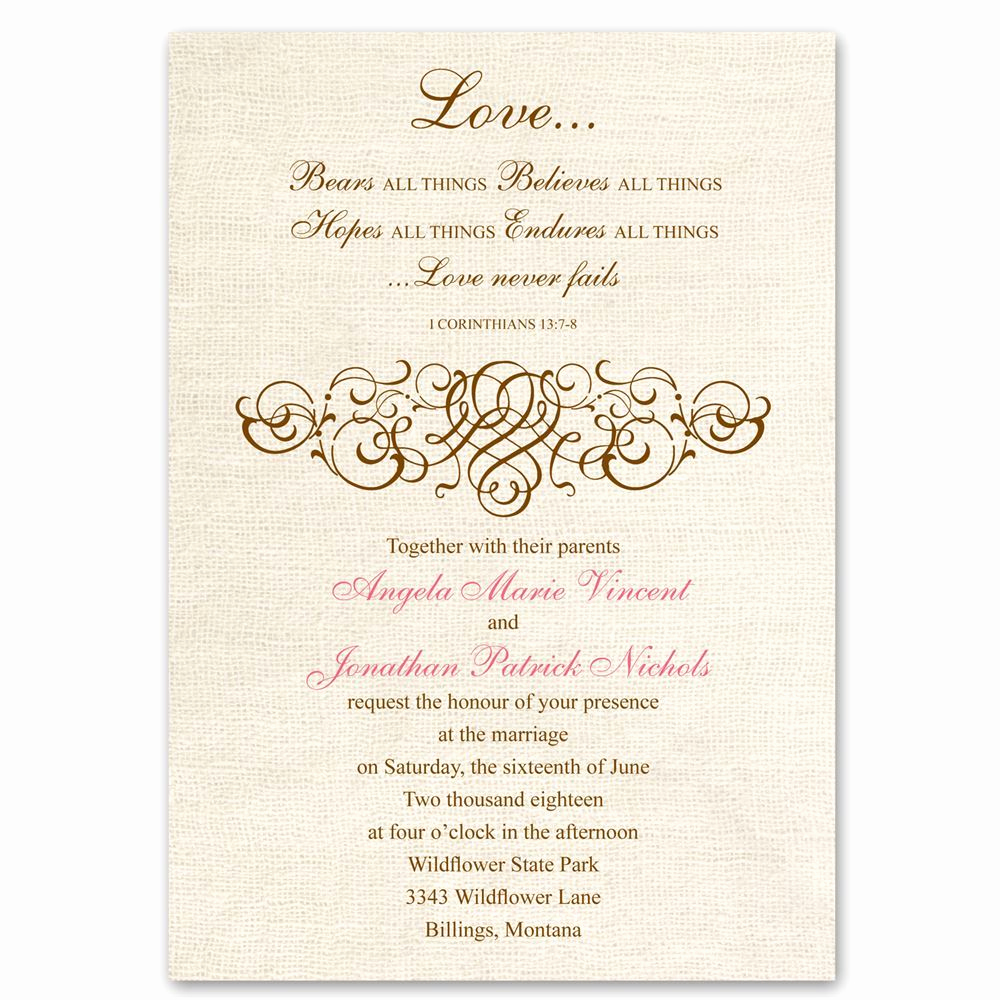 Religious Wedding Invitation Wording Best Of Rustic Love Invitation