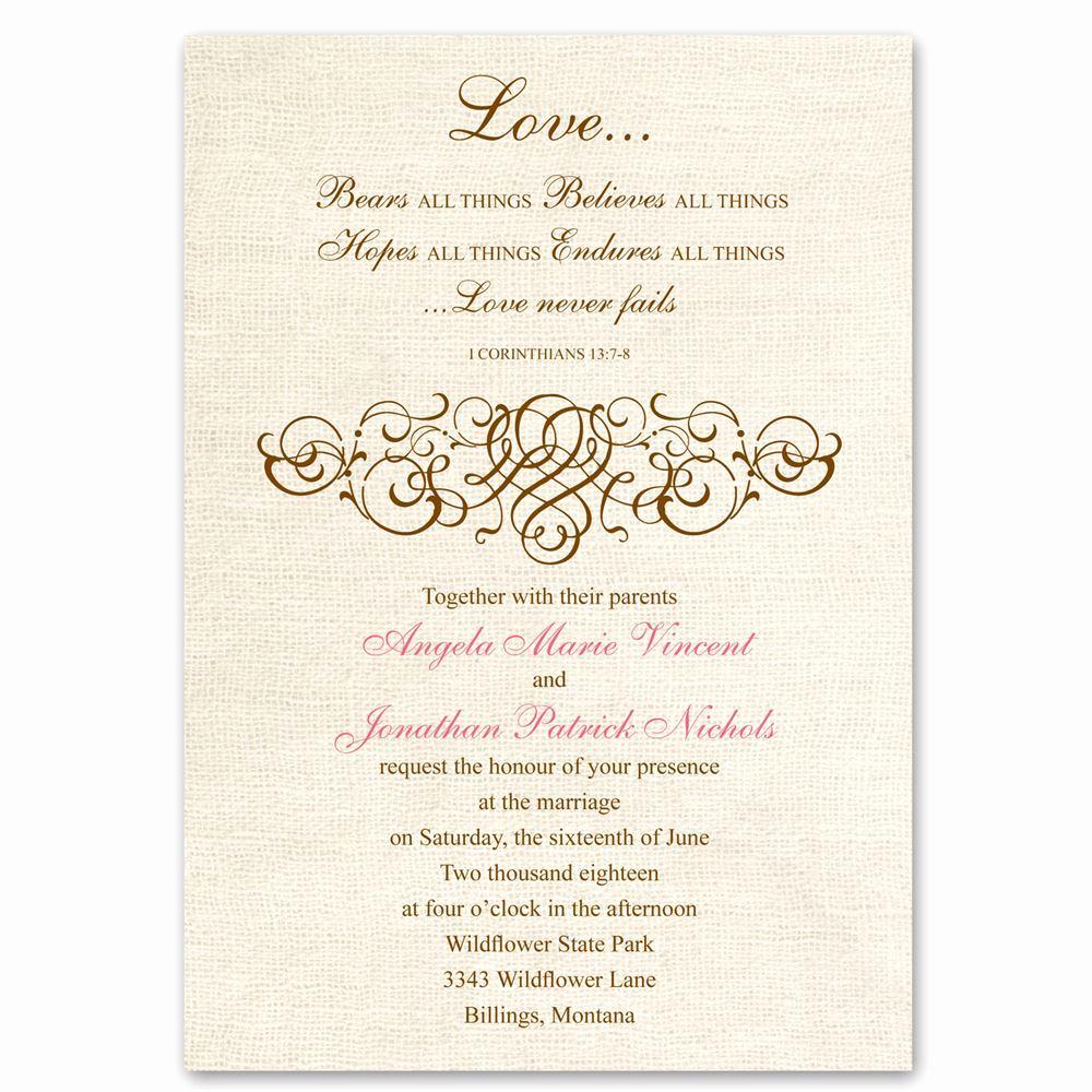 Religious Wedding Invitation Wording Best Of Rustic Love Invitation