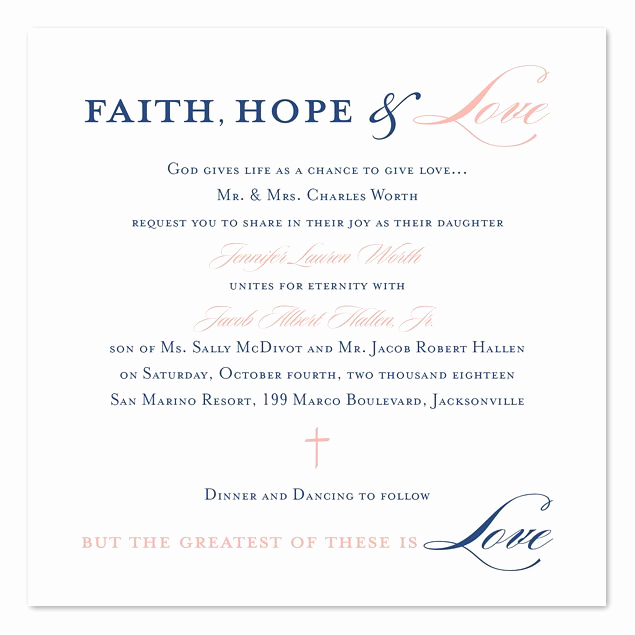 Religious Wedding Invitation Wording Elegant Graceful Type In 2019 Wedding Invites