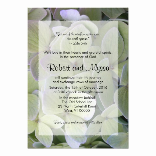 "Religious Wedding Invitation Wording Fresh Green Hydrangea Christian Wedding Invitations 5"" X 7"
