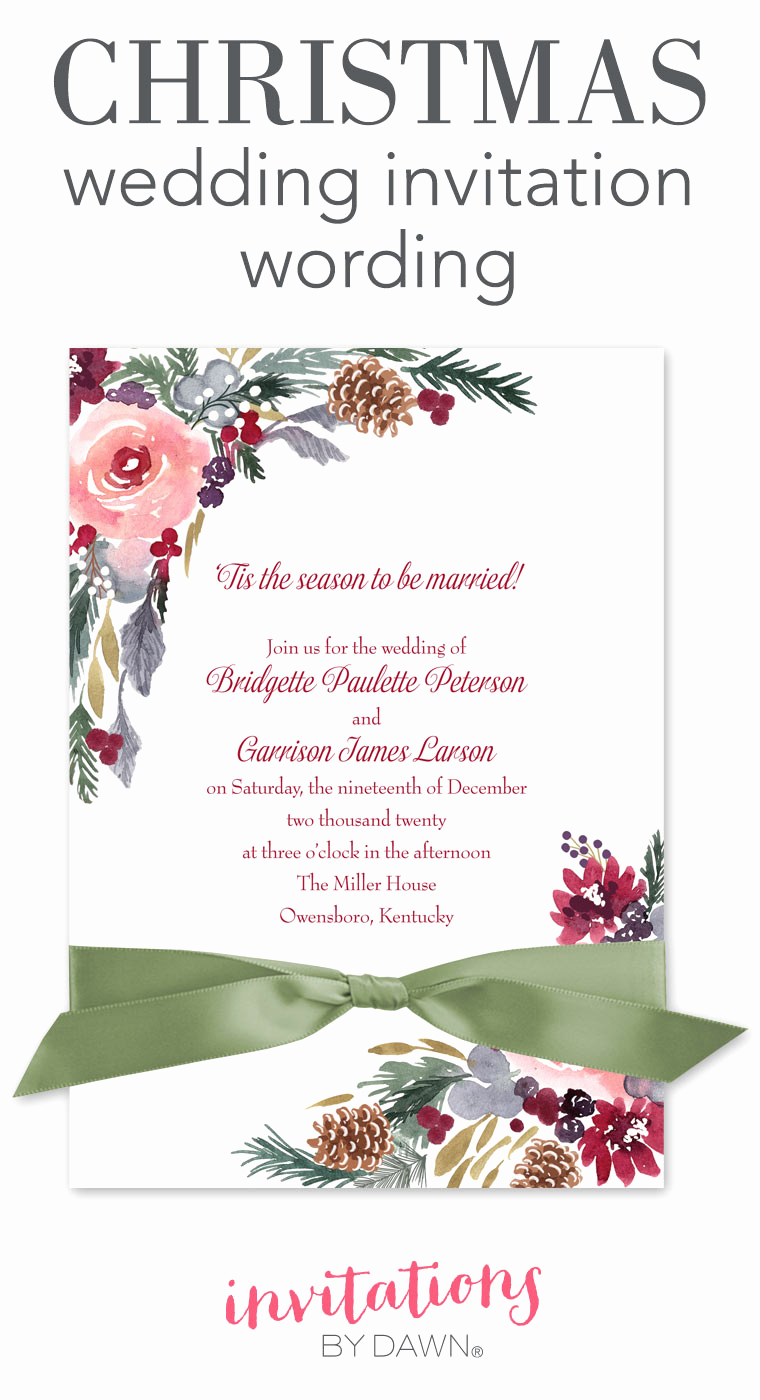 Religious Wedding Invitation Wording Lovely Christmas Wedding Invitation Wording