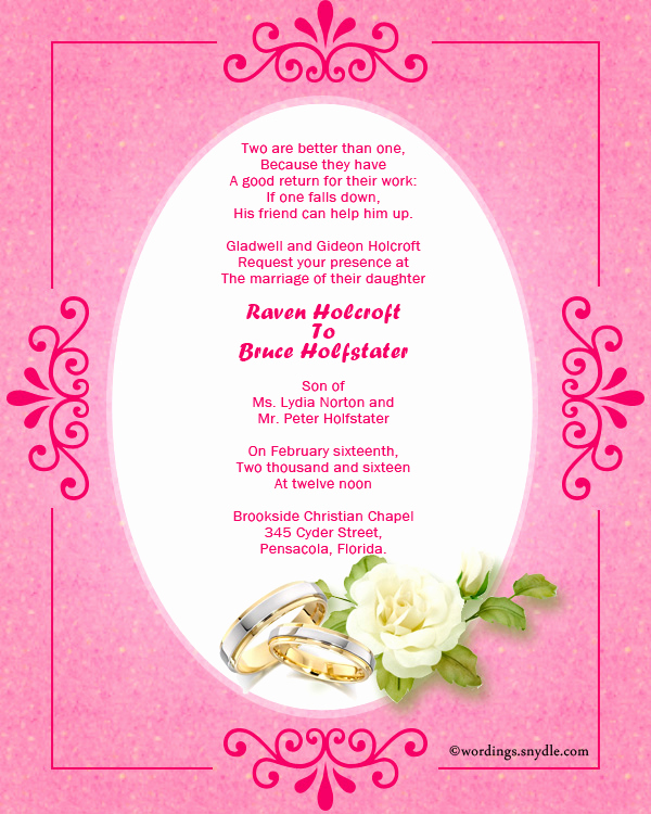 Religious Wedding Invitation Wording Luxury Christian Wedding Invitation Wording Samples Wordings